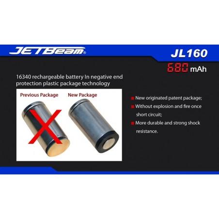 Akumulator ogniwo 3,7V RCA123A 680mAh JETBEAM JL160 Li-Ion
