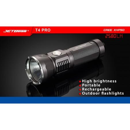 Profesjonalna latarka JETBEAM / NITEYE T4 PRO Cree XHP50 + Li-Ion 5000mAh