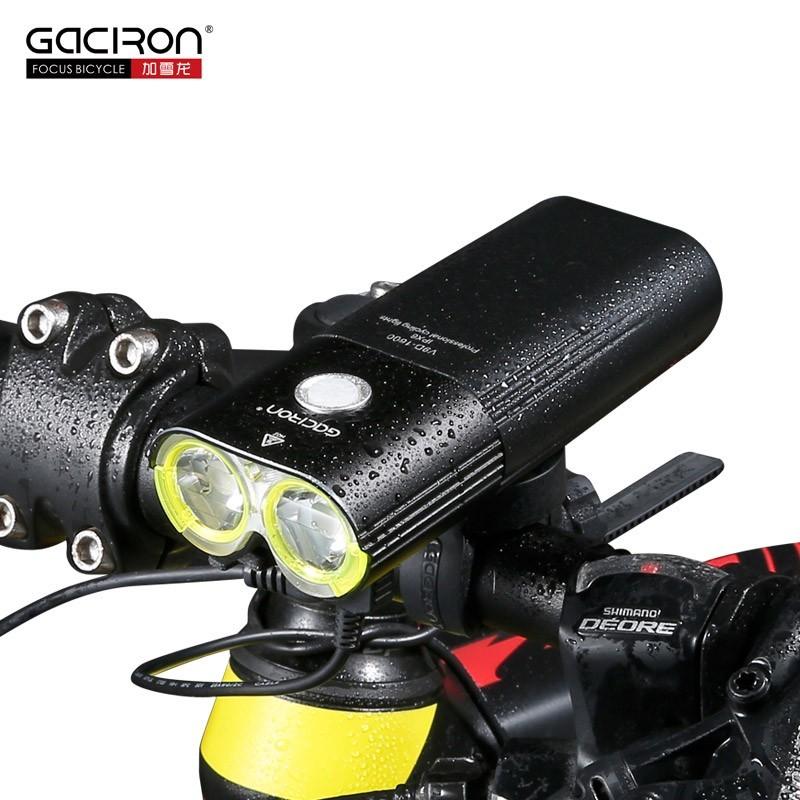 Lampa rowerowa GACIRON V9D-1600 2xCree XML2 port USB Power Bank + lampa tył GACIRON W05 Gratis !