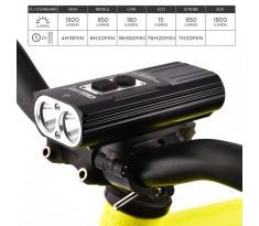 Lampa rowerowa Nitenumen X8 port USB 2x CREE XM-L2 6700mAh LG