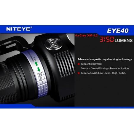NITEYE EYE40 latarka klasy High-End 4xXM-L2 U2 3150 lumenów