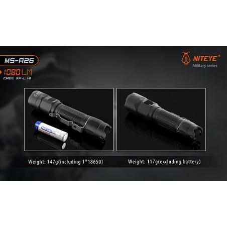 Latarka taktyczna NITEYE MS-R26 Cree XP-L HI 1080lum port USB