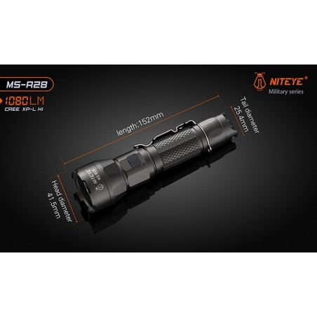 Latarka taktyczna NITEYE MS-R28 Cree XP-L HI 1080lum port USB